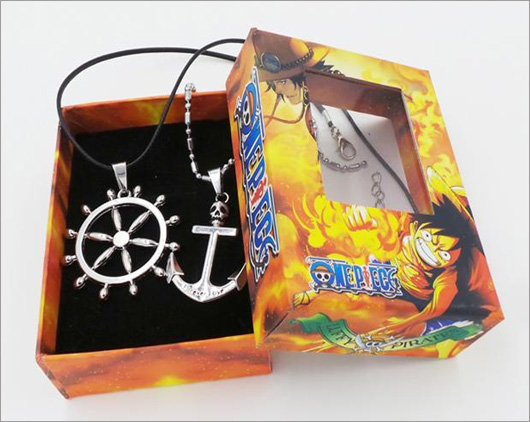 One Piece Ship Wheel and Anchor Necklaces