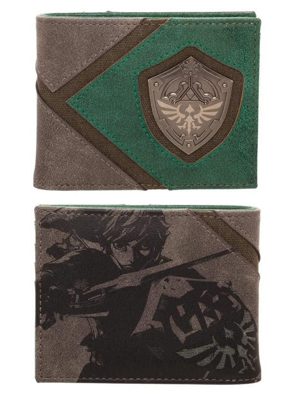 Legend of Zelda Silver Metal Badge Bi-Fold Wallet