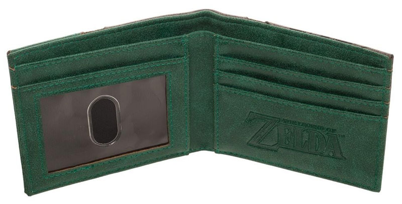 Legend of Zelda Silver Metal Badge Bi-Fold Wallet in green FAUX leather