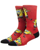 SpongeBob SquarePants Red All Over Print Athletic Crew Socks