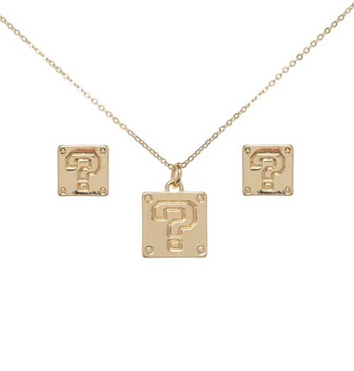 Super Mario Question Block Necklace and Earrings out of tin box