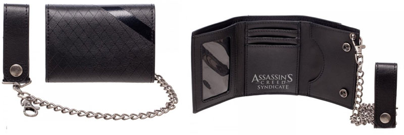 inside and back image of Assassins Creed PU Leather Chain Wallet