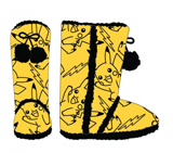 Pokemon Pikachu Yellow Womens Boot Slippers Medium