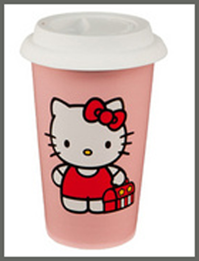 Hello Kitty 12oz Double Wall Ceramic Travel Mug