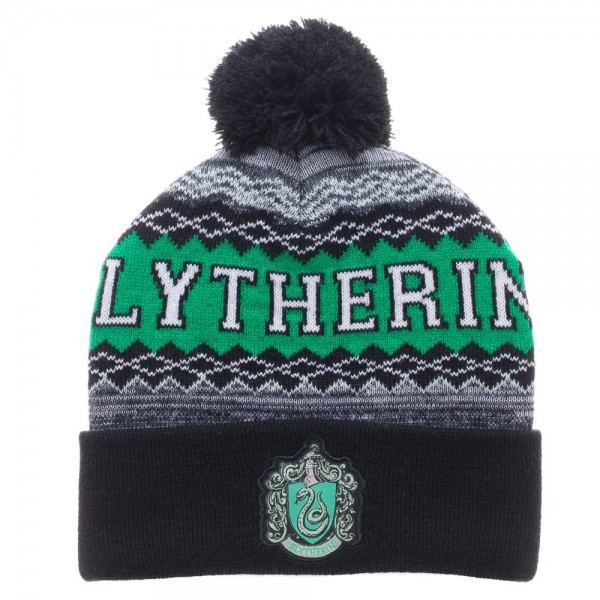 Harry Potter Slytherin Cuff Pom Beanie