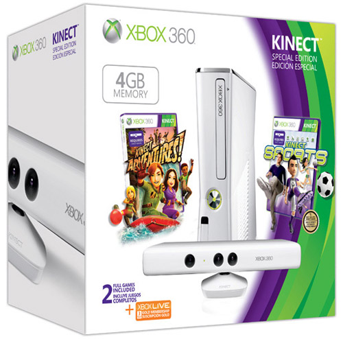 Microsoft Xbox 360 Slim 4GB Console with Kinect Special Edition White Bundle