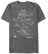 Nintendo NES Schematic Grey T-Shirt Extra Large