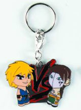 Street Fighter Blue Ken vs Brunette Vega Enamel Keychain
