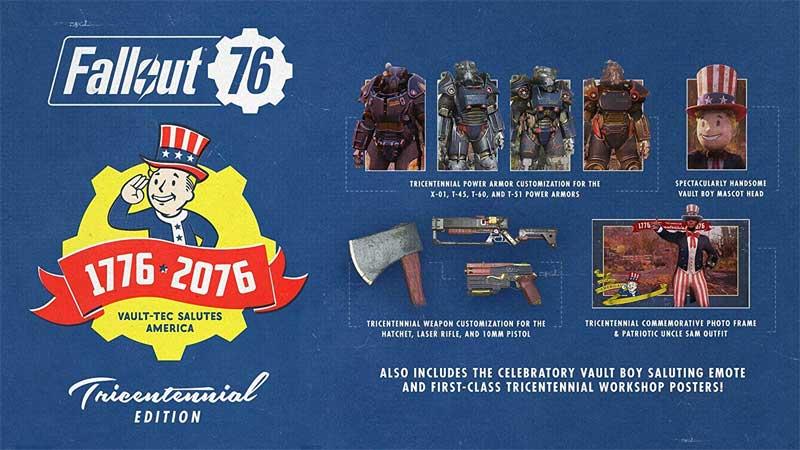 PS4 Fallout 76 Tricentennial Edition bonus content