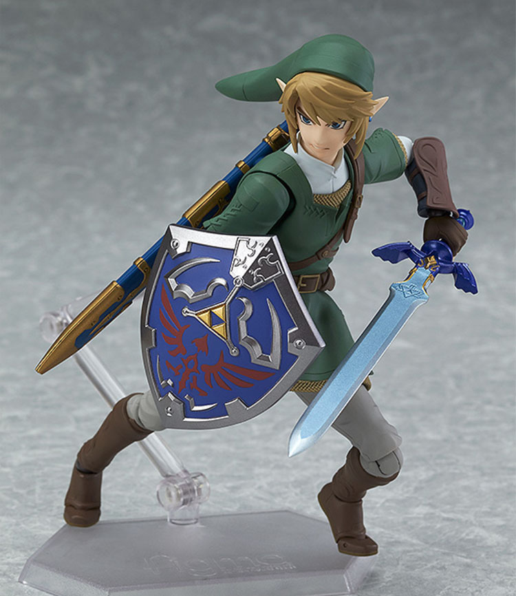 Legend of Zelda Twilight Princess Link Figma Action Figure confidently posing with his Hylian shield and the Master Sword