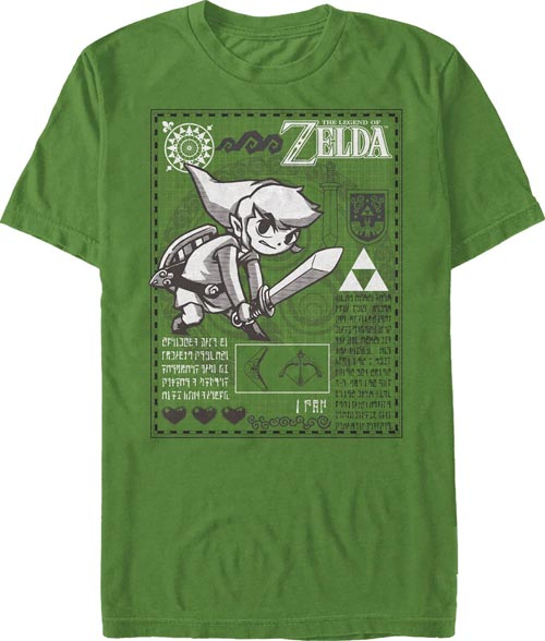 Legend of Zelda Link Chart Kelly Green T-Shirt Extra Large