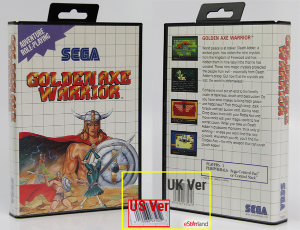 a upc code image of US version of Sega Master Golden Axe Warrior
