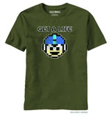 Mega Man Get A Life Military Green T-Shirt (LG)