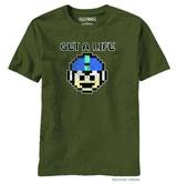 Mega Man Get A Life Military Green T-Shirt (LG)