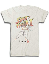 Street Fighter Ryu Hadoken Cream T-Shirt Medium