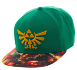 Legend of Zelda Link Sublimated Bill Green Snapback Cap