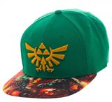 Legend of Zelda Link Sublimated Bill Green Snapback Cap