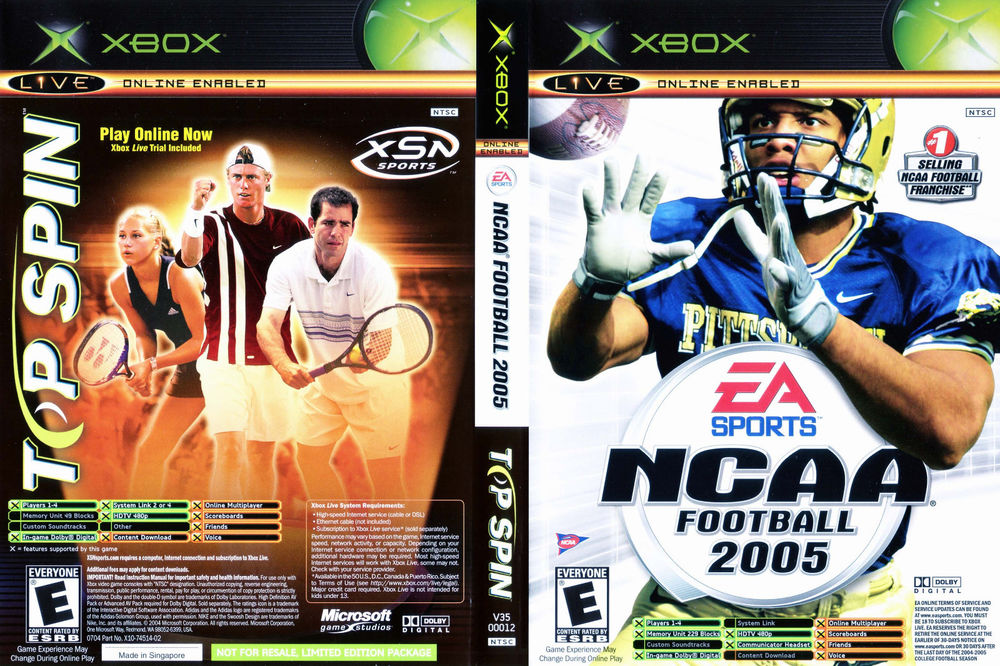 Top Spin Tennis / NCAA Football 2005 Combination Pack