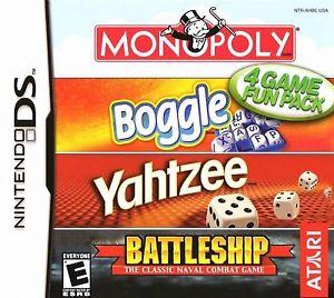 4 Game Fun Pack Monopoly Boggle Yahtzee Battleship