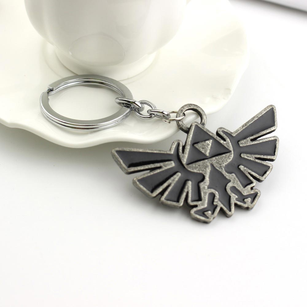 Legend of Zelda: Silver/Black Triforce Logo Keychain