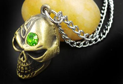 Death Note: Silver Skull with Emerald Inset Necklace