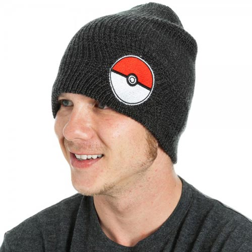 Pokemon Poke Ball Black Slouch Beanie