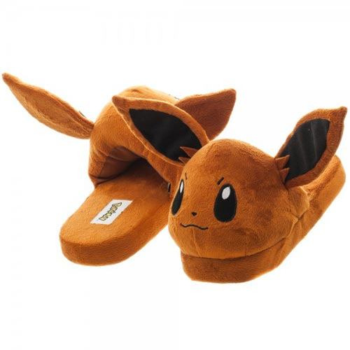Pokemon Eevee Unisex Brown 3D Plush Slippers Extra Large