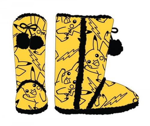 Pokemon Pikachu Yellow Womens Boot Slippers Medium