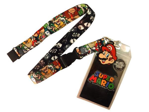 Super Mario Multi Character Lanyard with Mario Head Charm