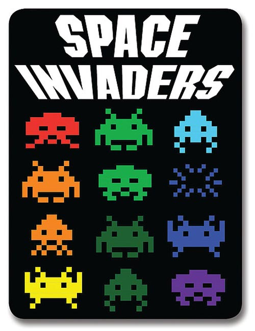 Space Invaders Logo Fleece Blanket