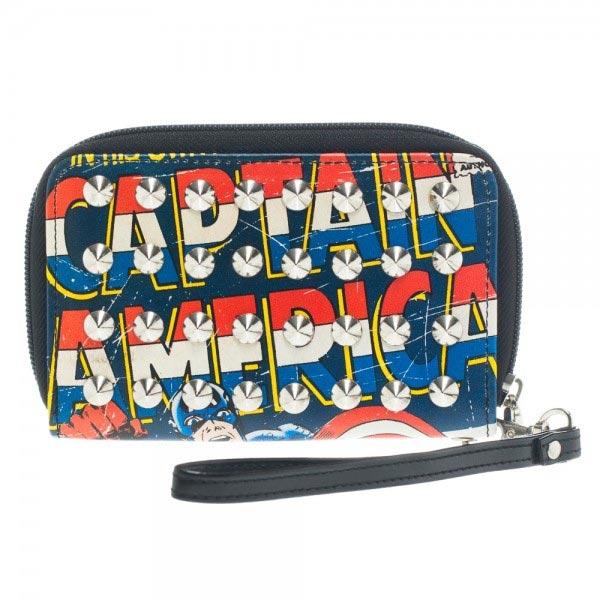 Marvel Captain America Studded Zip Around Wallet