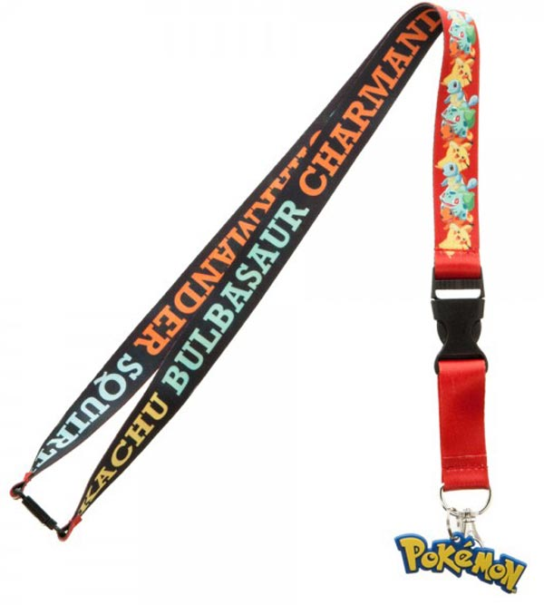 Pokemon Multi Character Lanyard with Pokemon Logo Charm
