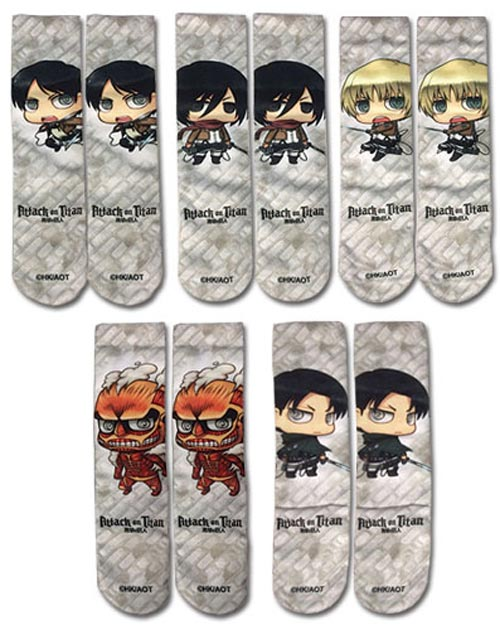 Attack on Titan: Characters Sublimated Socks 5 Pack