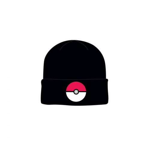 Pokemon Pokeball Black Cuff Knit Beanie