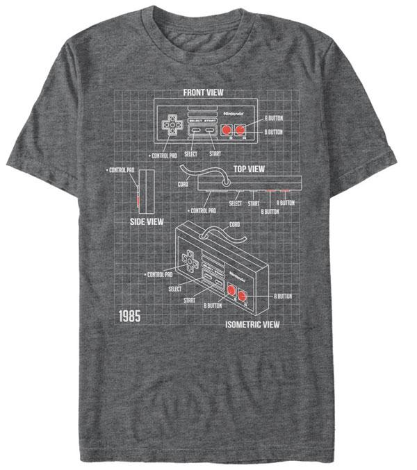 Nintendo NES Schematic Grey T-Shirt Small